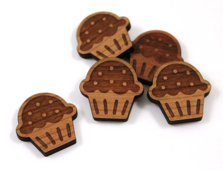 Laser Cut Supplies-8 Pieces. Cupcake Charms-Acrylic.Wood Laser Cut Shapes