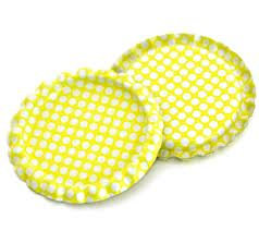 10 Pieces.Two Sided Bright Yellow - White Polka Dots Bottle Caps Flattened