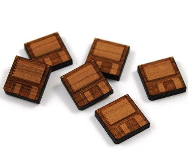 Laser Cut Supplies-8 Pieces.Floppy Disk Charms-Acrylic.Wood Laser Cut Shapes