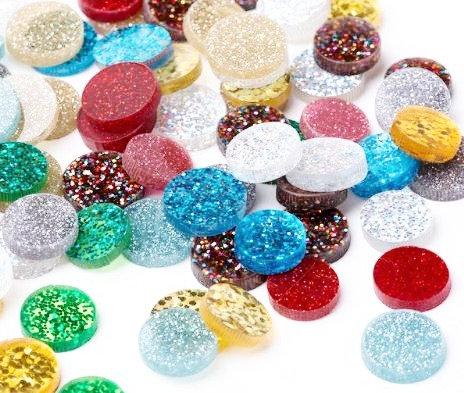 6 Pieces. 12mm Mixed Glitter Mini Circles.Premium Acrylic Laser Cut Supplies