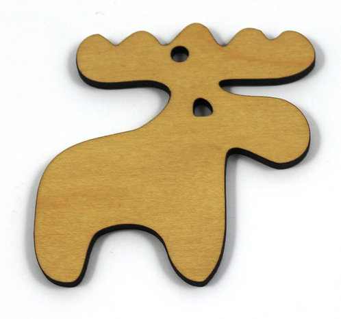 1 Piece. Moose Smooth Charms- Wood Laser Cut Shapes