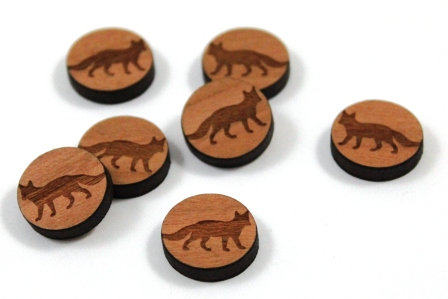 Laser Cut Supplies-8 Pieces. Fox Charms-Acrylic.Wood Laser Cut Shapes