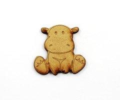 1 Piece. Happy Hippopotamus Charms-Wood Laser Cut Shape