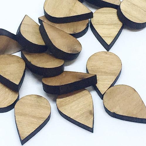 8 Pieces. Tear Drop Mini Charms-Wood Laser Cut Shape