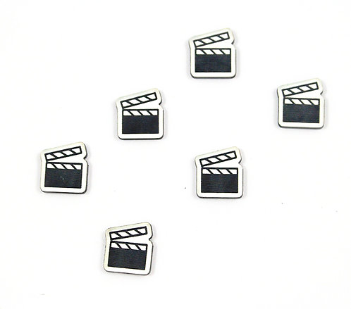 Laser Cut Supplies-8 Piece. Clapper Board Charms-Acrylic Laser Cut Shapes