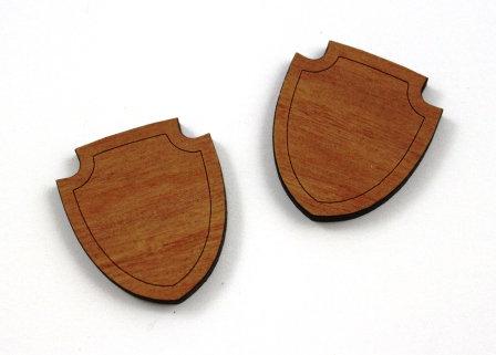 1 Piece. Flat Shield Bezel Charms- Wood Laser Cut Shapes