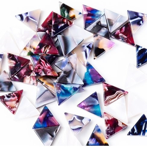 2 Pieces.Acrylic 12mm Rainbow Mini Triangle Charms .Laser Cut Jewelry Supplies