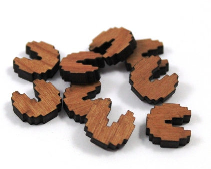 Laser Cut Supplies-8 Pieces. Pacman Charms-Acrylic.Wood Laser Cut Shapes