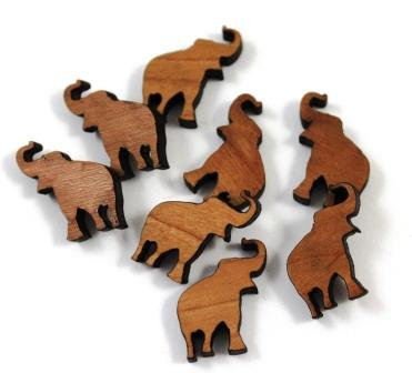 Laser Cut Supplies-8 Pieces. Elephant Charms-Acrylic.Wood Laser Cut Shapes