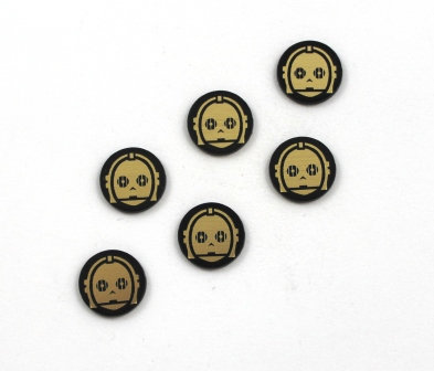 Laser Cut Supplies-8 Piece. C3PO Charms-Acrylic and Wood Lasercut Shapes