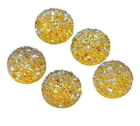 10 Pieces. Daffodil Sparkle. 12mm Round Glitter Resin Mini Charms