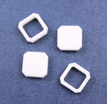 8 Pieces. Square Angle Bezel Mini Charms-Acrylic Laser Cut Shape
