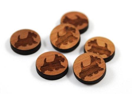 Laser Cut Supplies-8 Pieces. Scottie Dog Charms-Acrylic.Wood Laser Cut Shapes