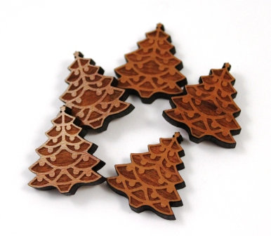 Laser Cut Supplies-8 Pieces. Christmas Tree Charms-Acrylic.Wood Laser Cut Shapes