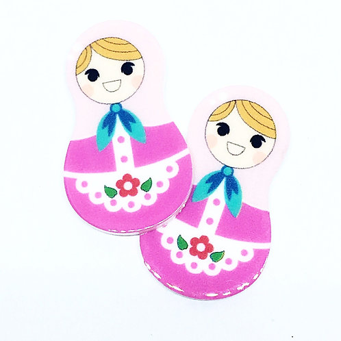 Laser Cut Supplies-2 Pieces.20mm Russian Doll Pink Charms-Laser Cut Acrylic