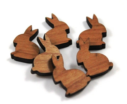 Laser Cut Supplies-8 Pieces. Rabbit Charms-Acrylic.Wood Laser Cut Shapes