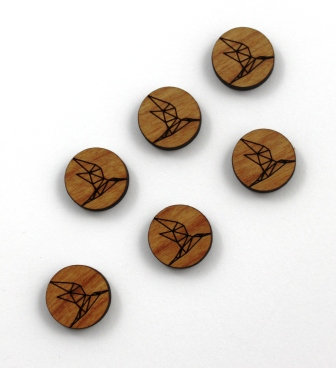8 Pieces. Origami Bird Charms-Wood Laser Cut Shapes