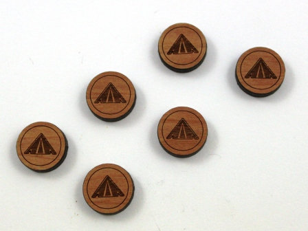 8 Pieces. Camping Tent Charms-Wood Laser Cut Shape