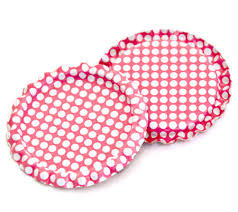 10 Pieces.Two Sided Hot Pink - White Polka Dots Bottle Caps Flattened