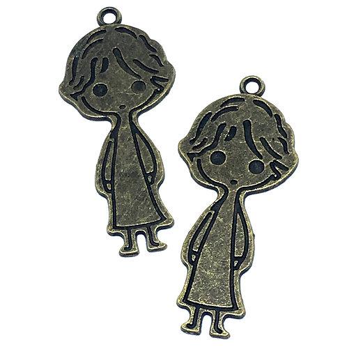 1 Piece. Boy Bead Charms Pendant. Antique Bronze