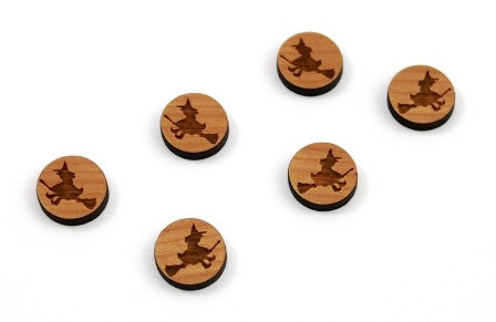 8 Pieces. Flying Witch Mini Charms-Wood Laser Cut Shape
