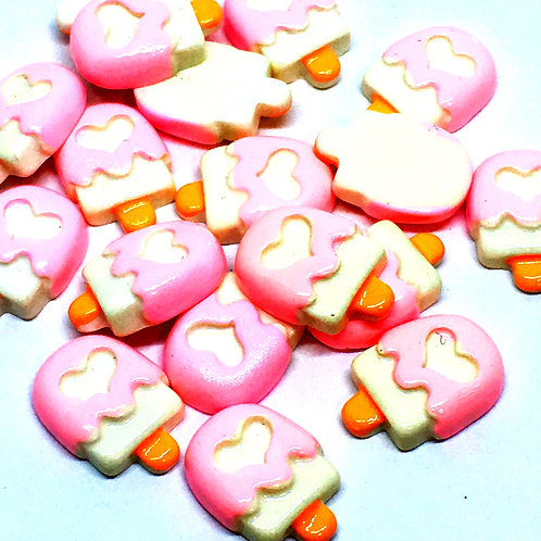 1 Piece. Pink Icecream Resin Cabochon Flat Back Embellishments