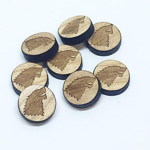 8 Pieces. House Stark Mini Charms-Wood Laser Cut Shape