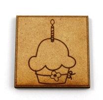 Laser Cut Supplies-1 Piece. Cupcake Tile-Acrylic. Wood Laser Cut Shape
