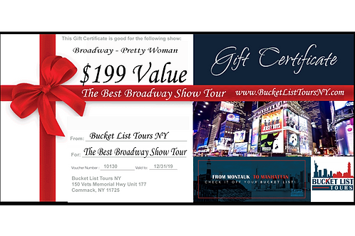 The Best of Broadway Tour - $199 Gift Certificate