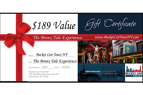 The Bronx Tale Experience - $189 Gift Certificate