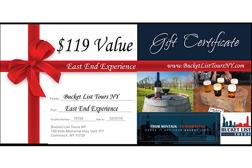 East End Experience - $119 Gift Certificate