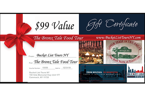 The Bronx Tale Food Tour - $99 Gift Certificate