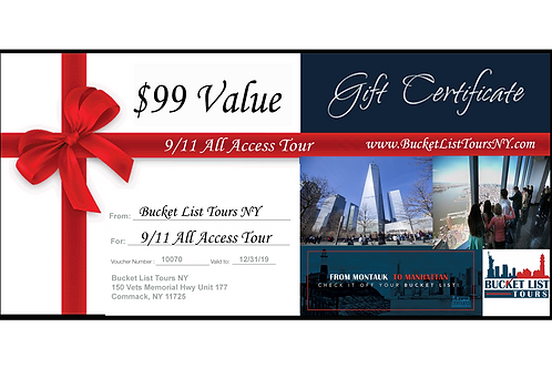 911 All Access Tour - $99 Gift Certificate