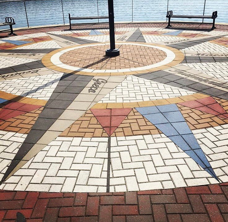 PAVERART, compass rose, landscape architecture, outdoor living, wharf, hardscaping