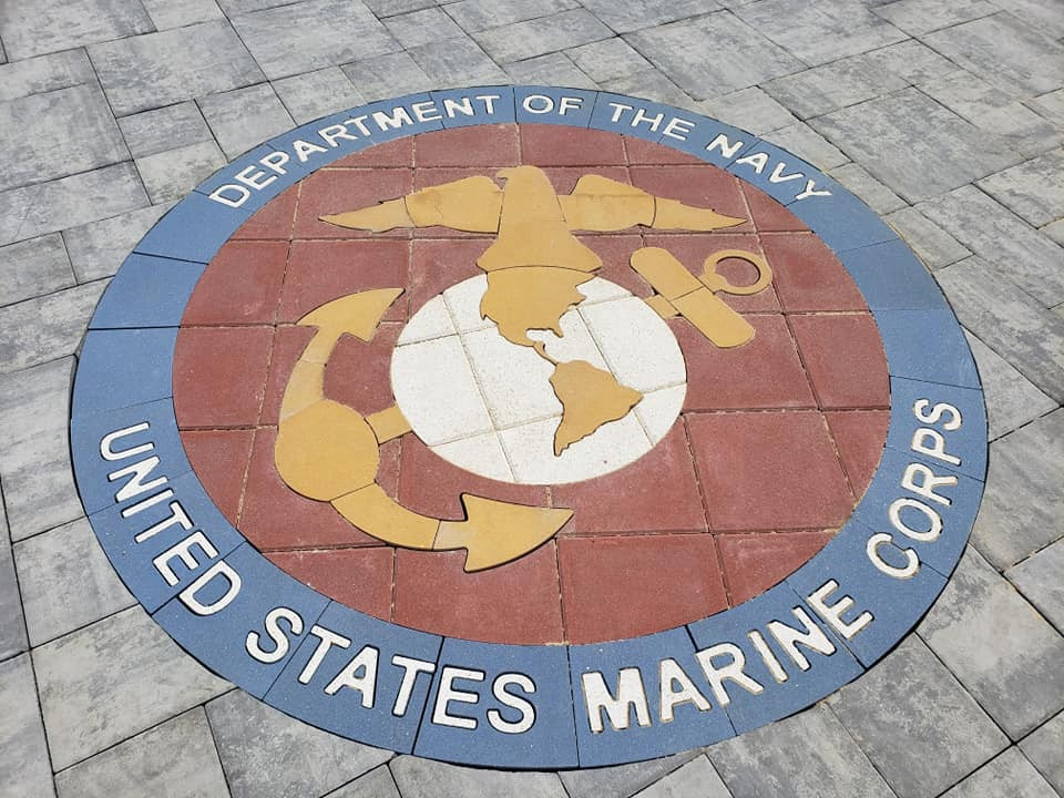 US Marine Corps medallion, inlay, paverart, landscape architect, custom pavers, paver design