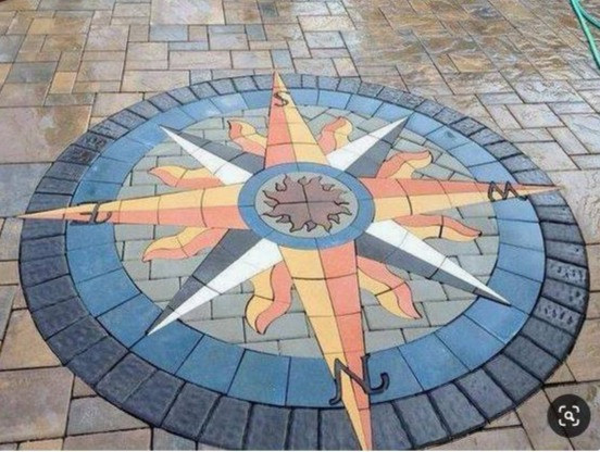 PAVERART, Compass Rose, compass rose paver kit, patio, inlay, patio inlay, outdoor living, landscape design, landscape architecture, curb appeal