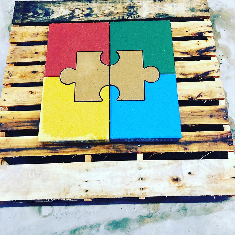 PAVERART, Autism awareness, puzzle piece, inlay