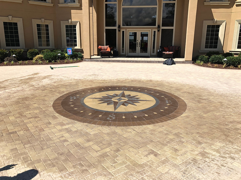 PAVERART, Compass Rose, Compass Rose Paver Kit, medallion, outdoor living, pavers, patio, patio inlay, inlay, landscape design, landscape architecture
