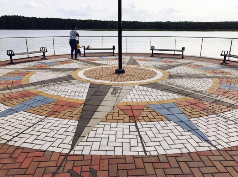 leonardtown wharf, compass, compass rose, paverart, paverart compass, landscape architecture