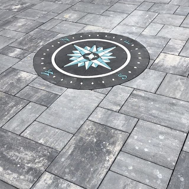 PAVERART, Compass Rose, Patio inlay, inlay, landscape design, paver compass