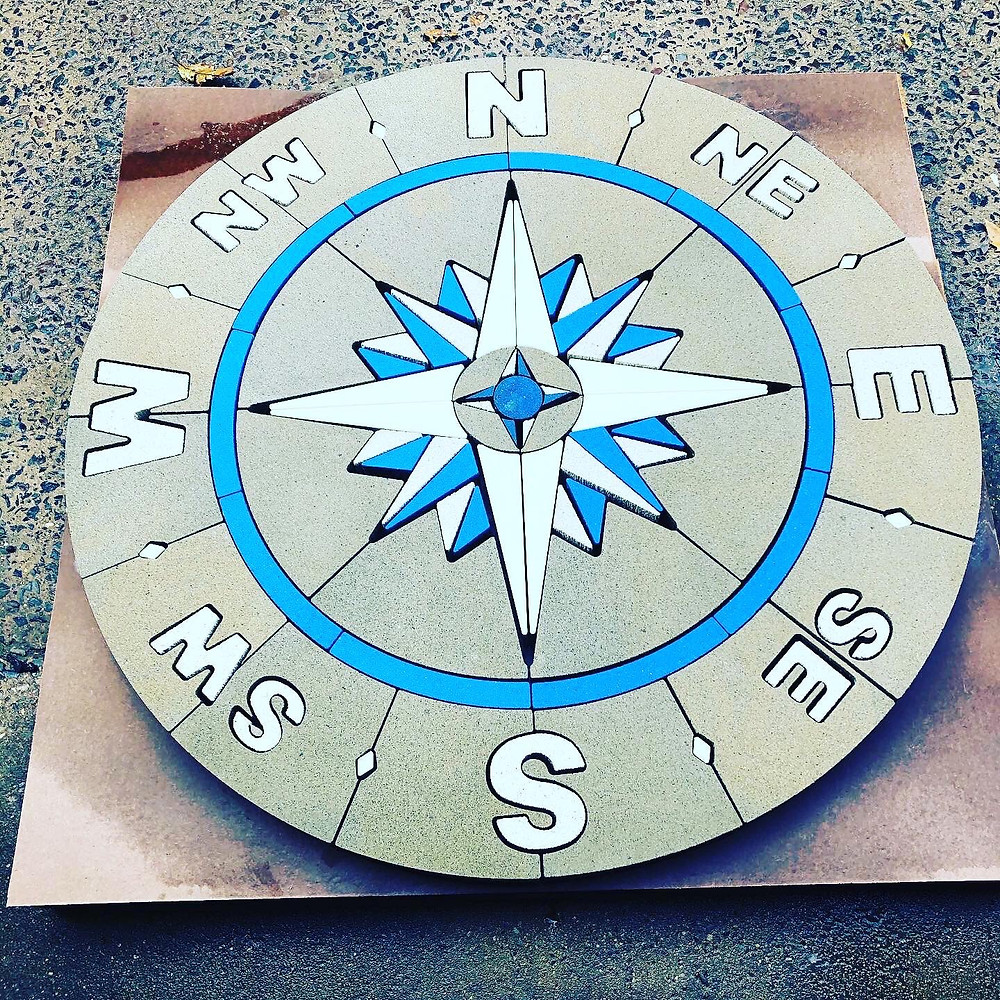 Compass Rose, PAVERART, patio inlay, outdoor living, paver design, nautical compass