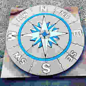 Compass Rose, PAVERART, patio inlay, outdoor living, paver design, nautical compass
