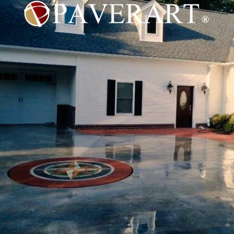 PAVERART, patio, compass rose, compass rose paver kit, inlay, patio inlay, outdoor living, landscape design, landscape architecture