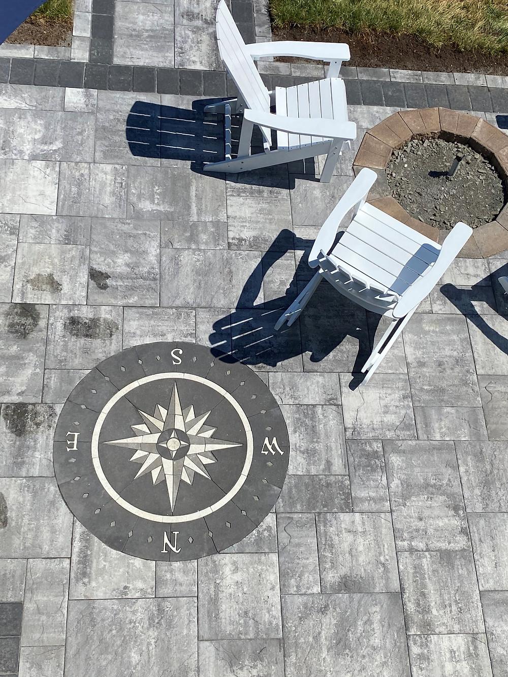 compass rose, stone compass, inlay, custom pavers, paverart, patio ideas, patio design, compass paver kit, paver design kit