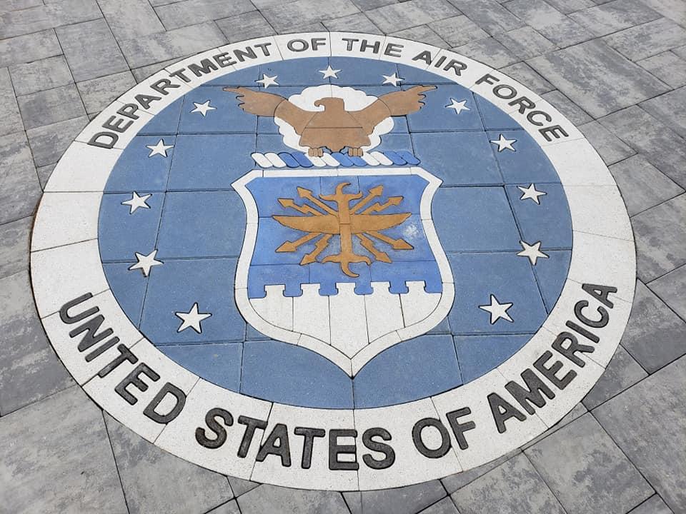 landscape design, custom pavers, inlay, paver design, hardscape design, armed forces medallion