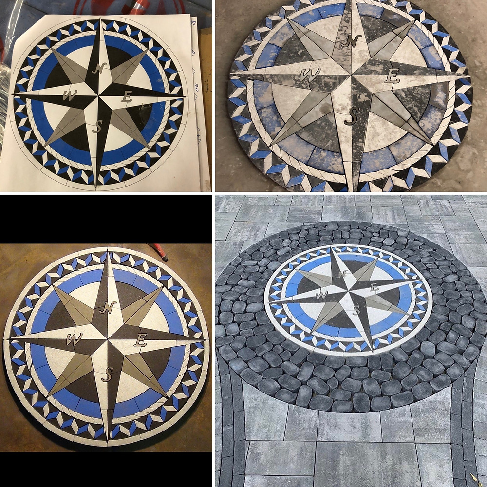 PAVERART, compass rose, compass rose paver kit, inlay, patio ideas, landscape design