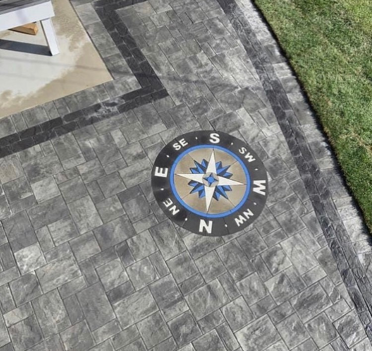 PAVERART, compass rose, inlay, patio ideas, paver compass, compass rose paver kit, landscape design