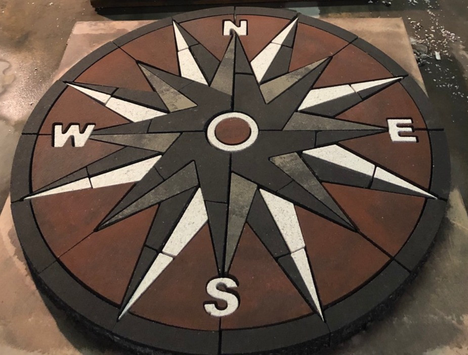 Compass rose, paverart, compass rose paver kit, outdoor living, patio inlay