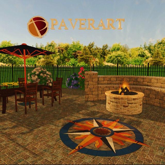 paverart, outdoor living, compass rose, paver compass, landscape design, landscape architecture, patio ideas, patio design ideas
