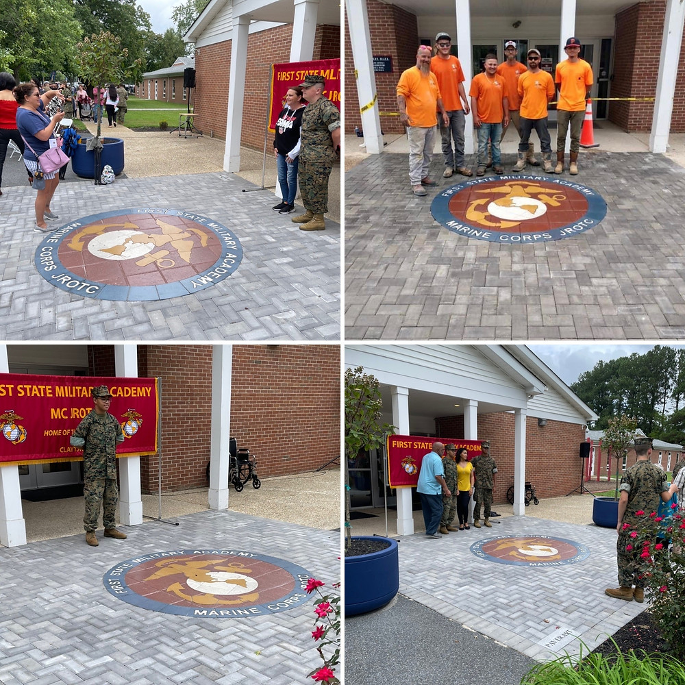 paver medallion, inlay, first state military academy, hardscape design